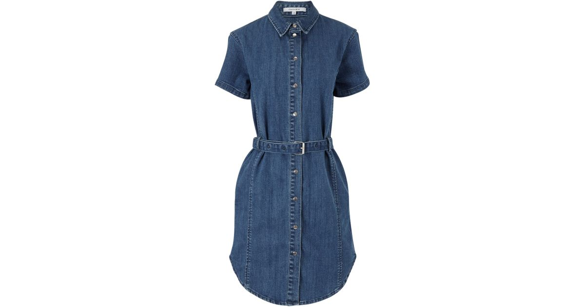 carven blue denim belted dress in blue lyst