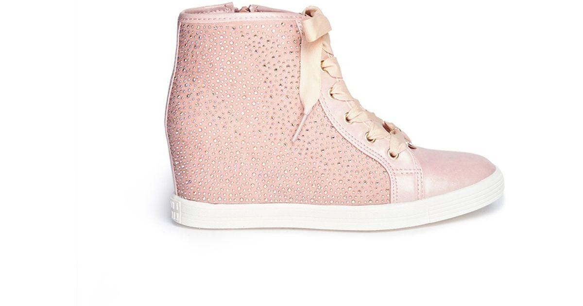 fe7fffbc08d Lyst - Stuart Weitzman  Vance 14  Rhinestone Wedge Sneakers in Pink