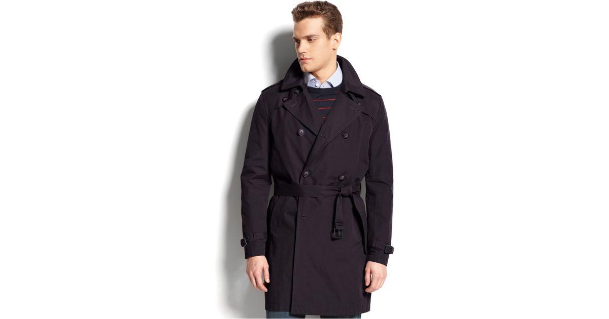 tommy hilfiger double breasted belted trench coat in black. Black Bedroom Furniture Sets. Home Design Ideas