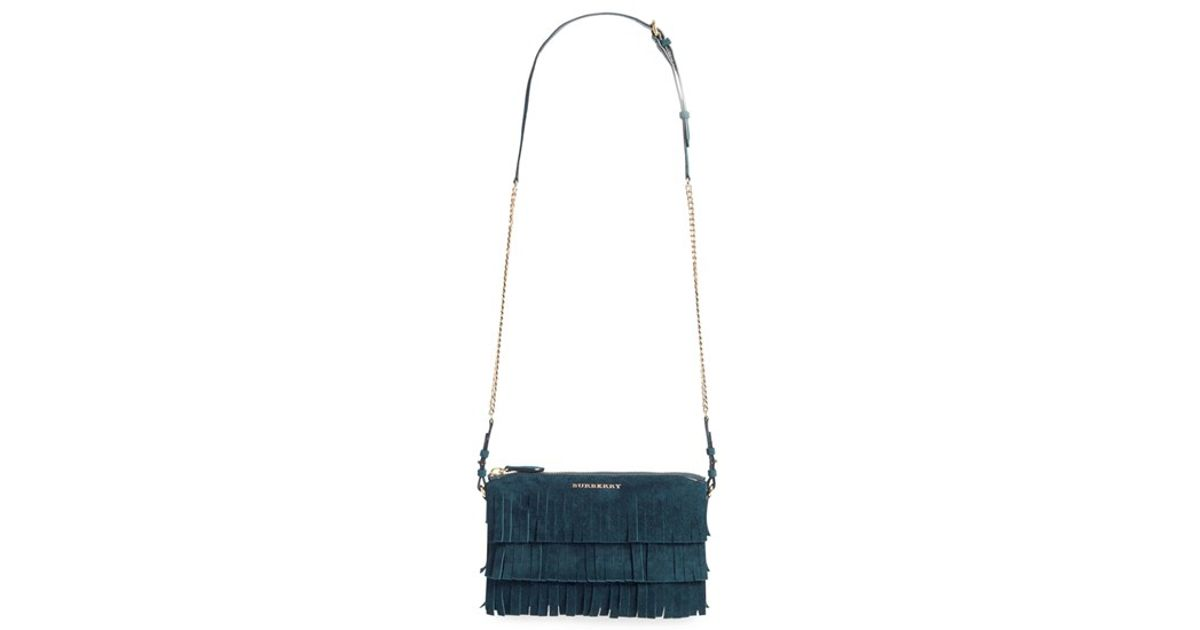 7ab281e5504d Lyst - Burberry  peyton  Fringe Suede Crossbody Bag in Blue