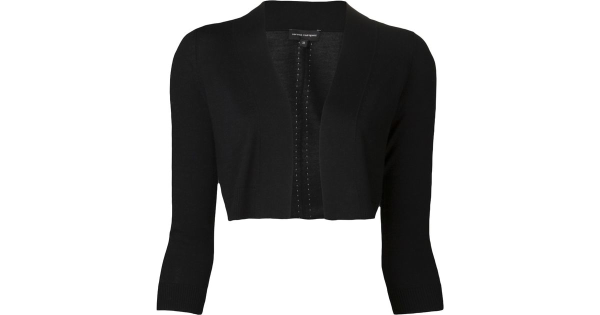 68b4e1aab0 Lyst - Narciso Rodriguez Knit Crop Jacket in Black
