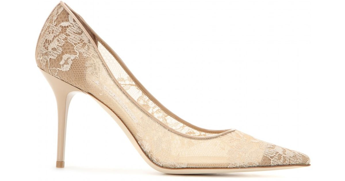 42e5cdacabe0 Lyst - Jimmy Choo Agnes Lace and Suede Pumps in Natural