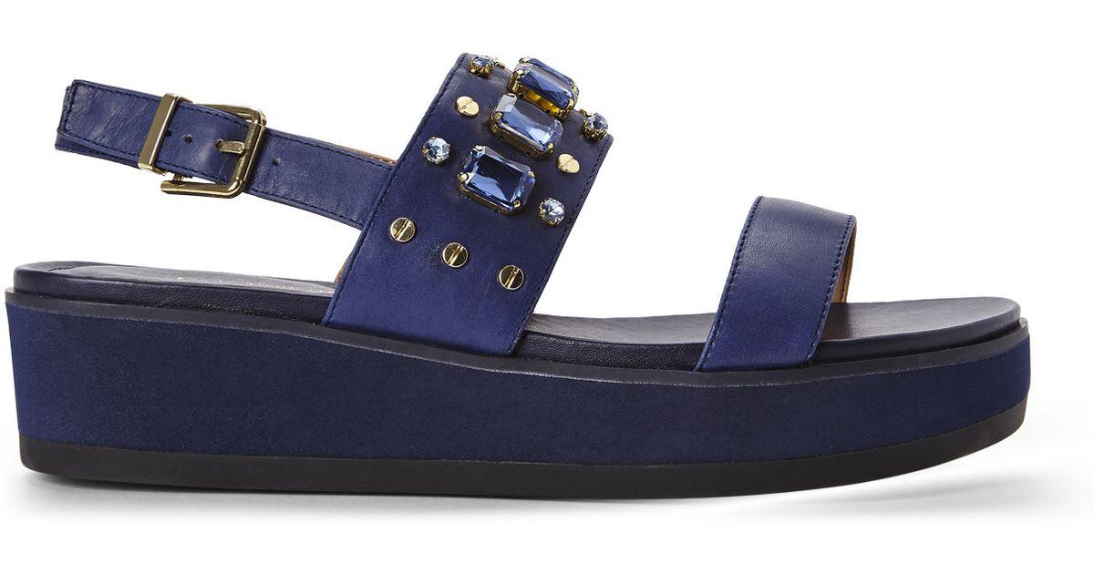 286ce3a02f442a Lyst - Isaac Mizrahi New York Navy Bling Platform Sandals in Blue