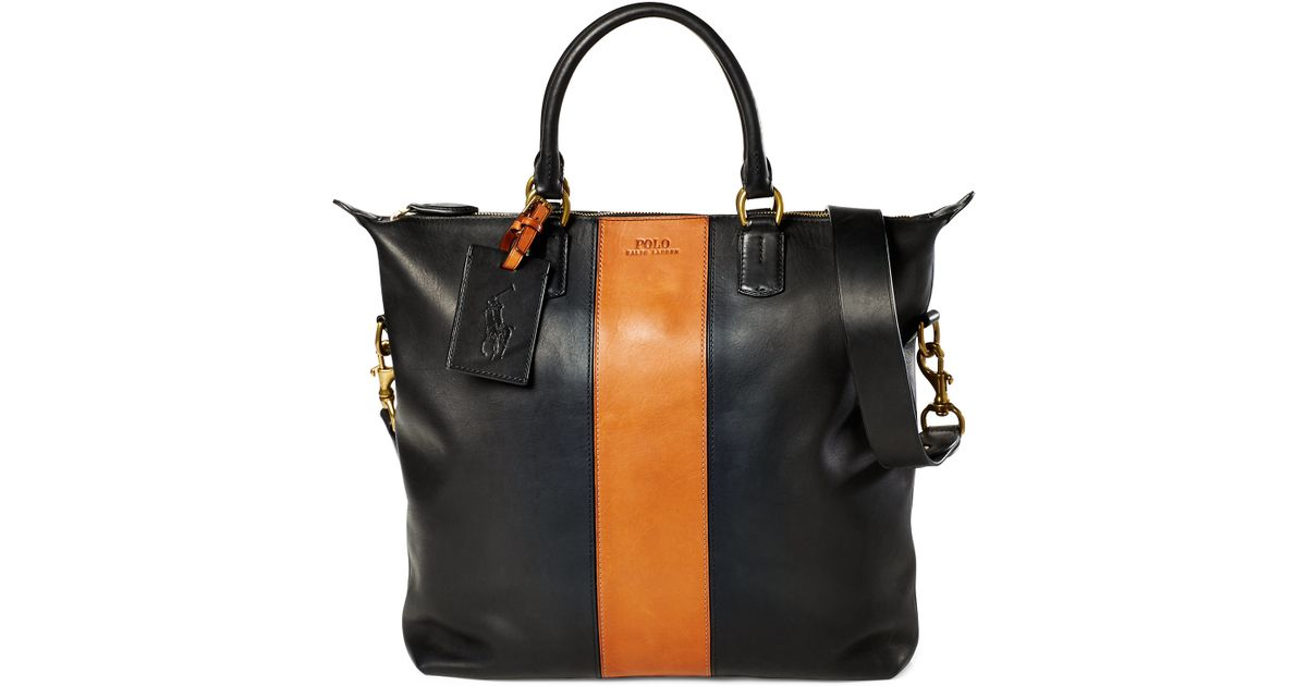 Ralph Lauren Tote Laukku : Polo ralph lauren striped leather tote in black for men lyst