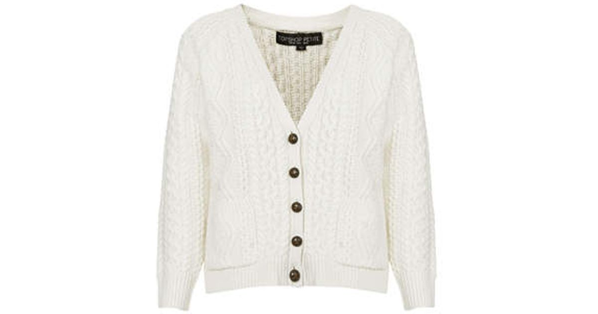 Topshop Petite Cable Knit Cardigan in White | Lyst