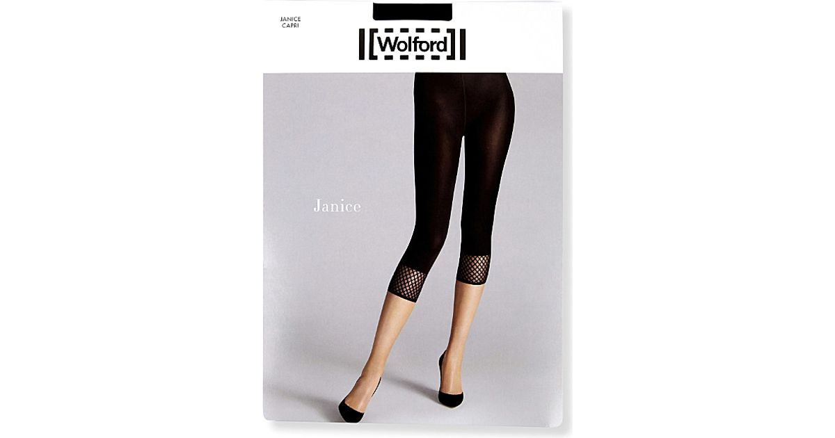 a7a840c923e894 Wolford Janice Fishnet Capri Tights in Black - Lyst