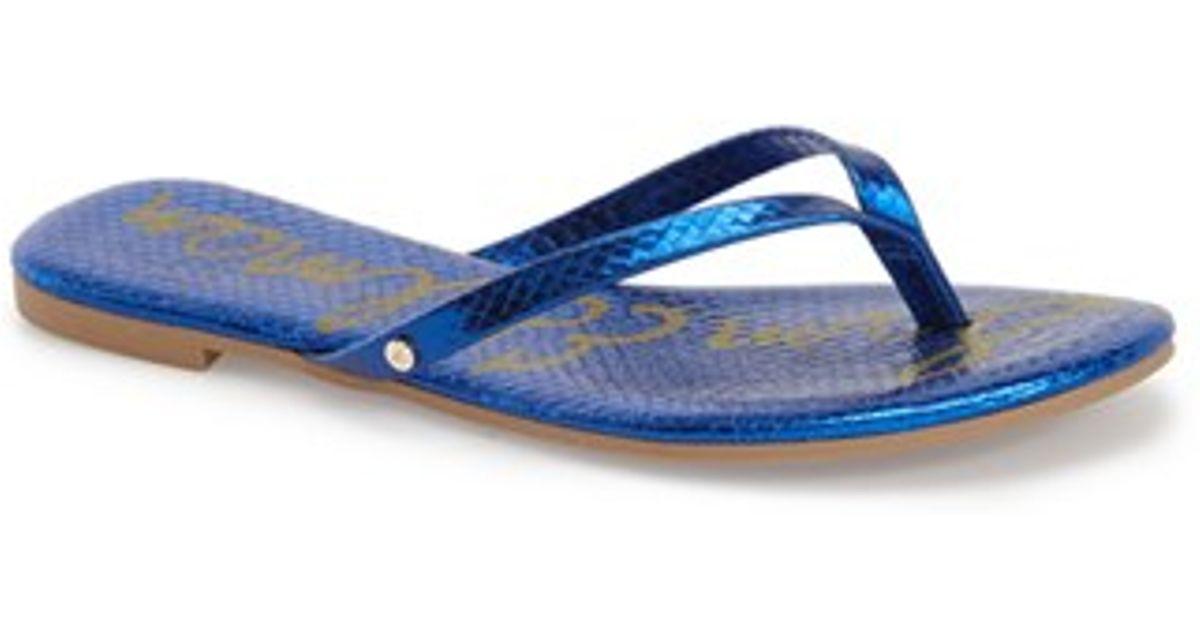 sam edelman oliver snakeskin embossed flip flops in blue. Black Bedroom Furniture Sets. Home Design Ideas