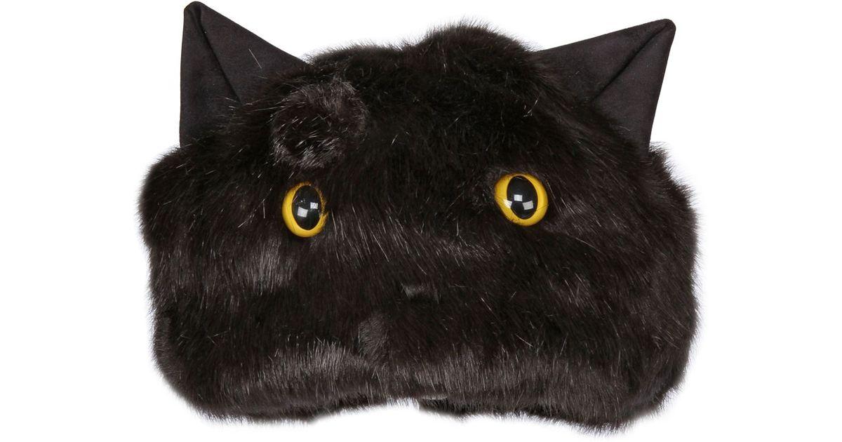 lyst urbancode faux fur hat with cat ears eyes in black