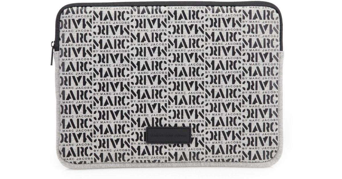 bc7fb3f69782d Lyst - Marc By Marc Jacobs Logo-Patterned Neoprene Laptop Case in Gray for  Men
