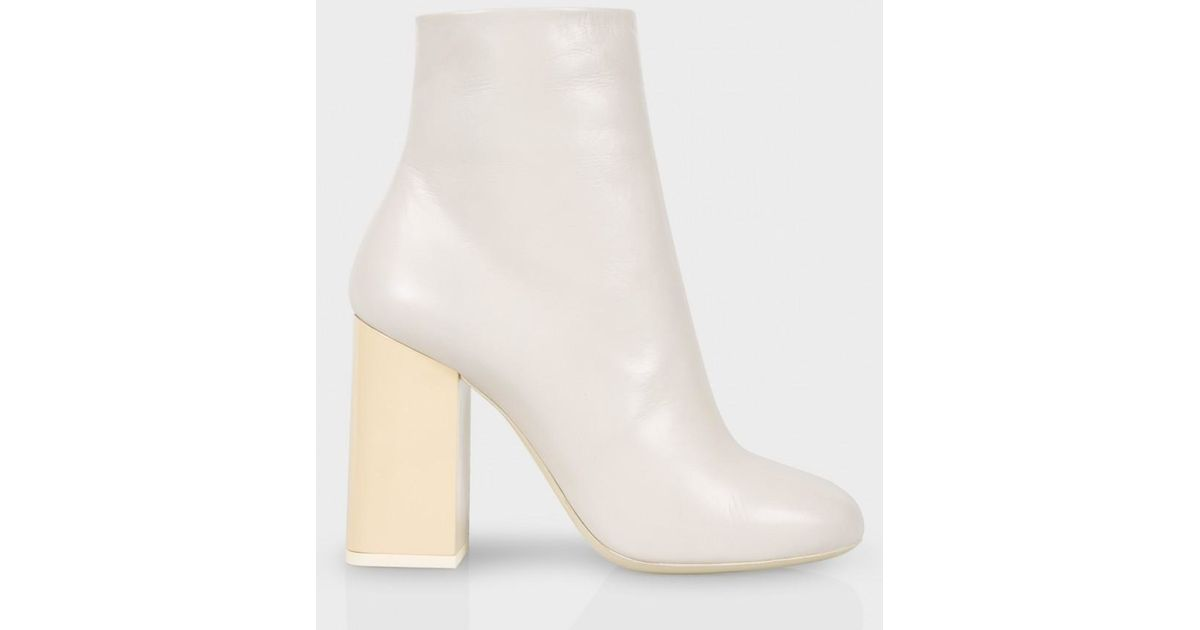 ea10e95e2f1f Lyst - Paul Smith Women s Ivory Leather And Snakeskin  eileen  Heeled Boots  in White