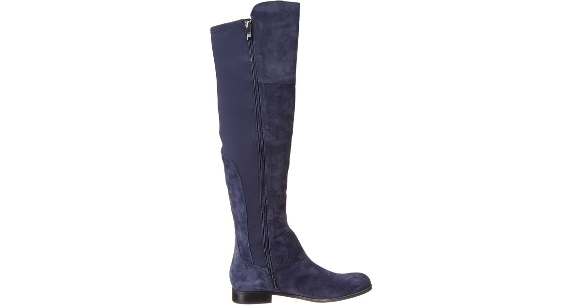Franco sarto mast stretch suede knee high boots in blue lyst for Franco sarto motor over the knee boots