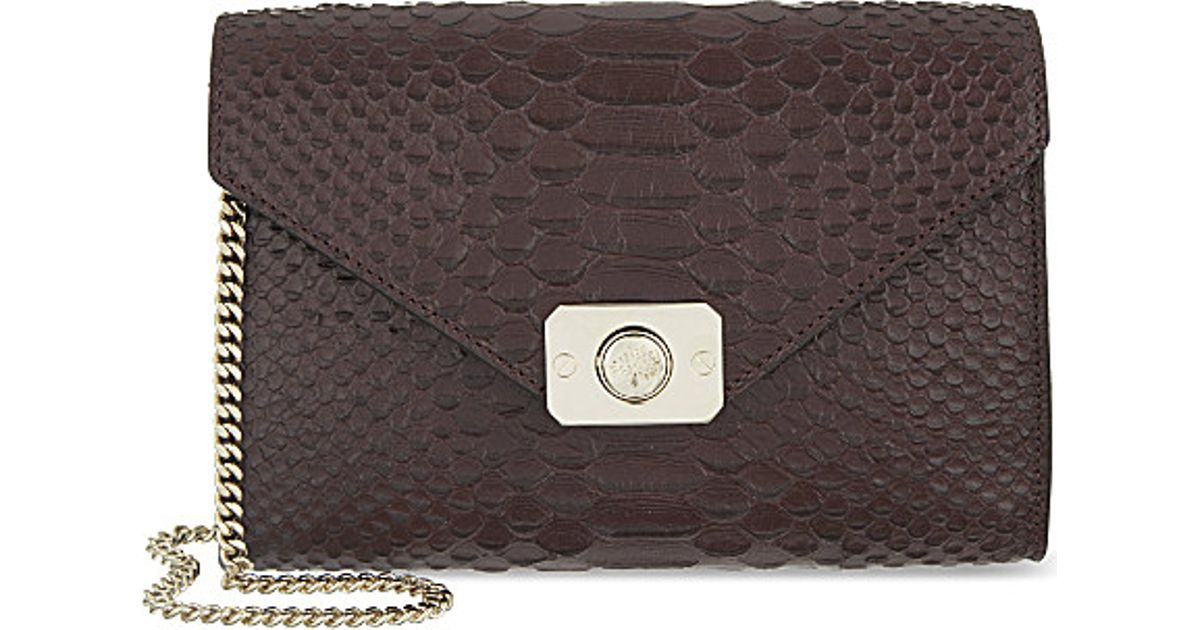 2c2691ee8f90 Mulberry Delphie Silky Snake Clutch Bag - For Women in Black - Lyst