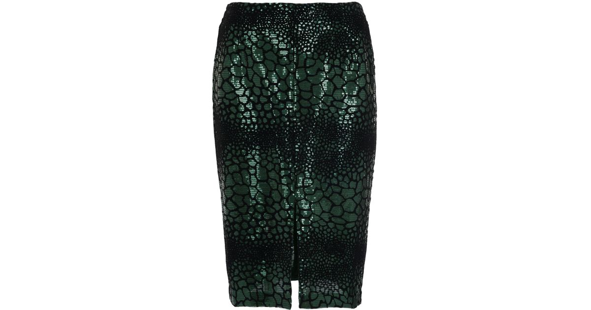 32a1037b1 French Connection Croc Flock Textured Skirt in Green - Lyst