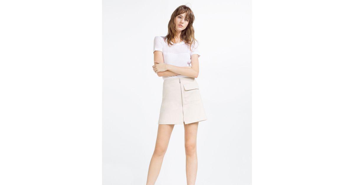 zara a line skirt in white beige lyst
