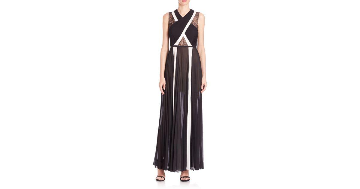 0a0071963b85 Lyst - BCBGMAXAZRIA Malgosia Cutout Stripe Georgette Gown in Black
