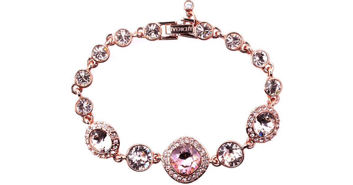 Lyst Givenchy Rose Gold And Vintage Swarovski Crystal Flex Bracelet In Pink