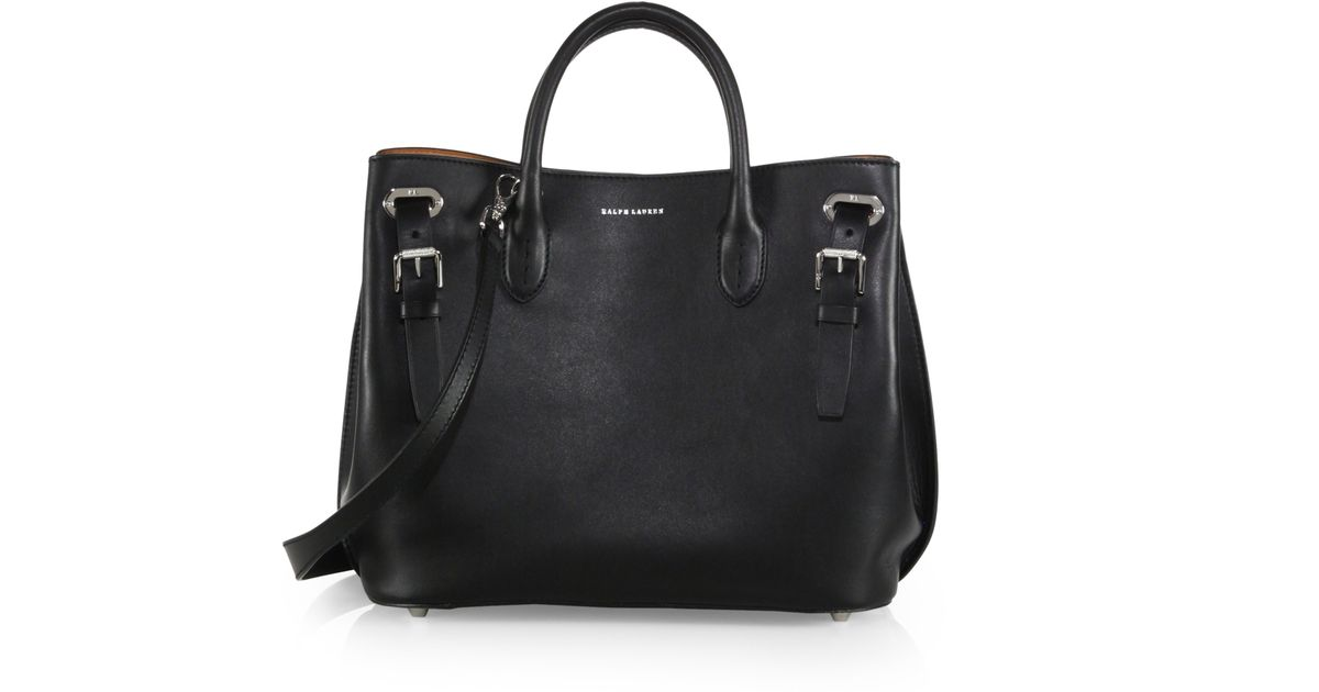 a25ed82c639e Lyst - Ralph Lauren Collection Small Grommet Tote in Black