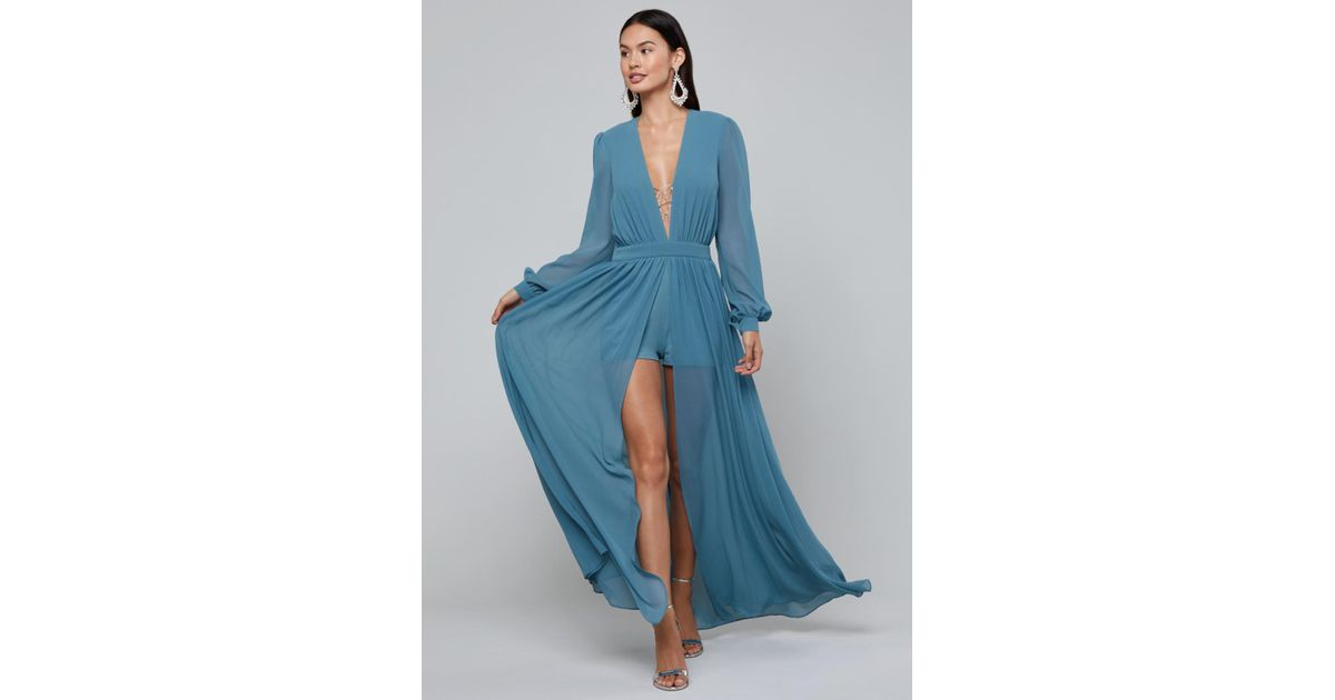 a364293e0e59 Lyst - Bebe Ari Deep V-neck Shorts Gown in Blue