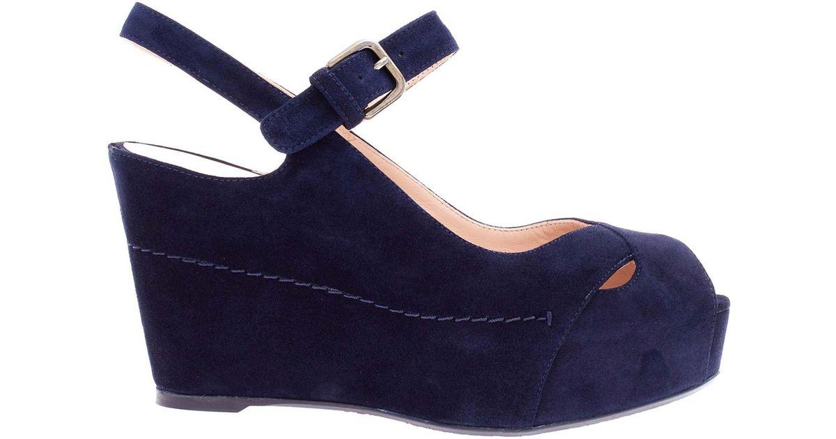 Lyst - Stuart Weitzman Navy Turnover Suede Wedge Sandals in Blue 30838d76c9