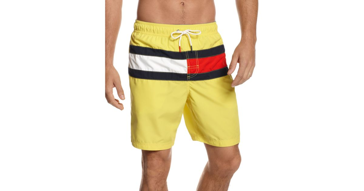 58668f1807 Tommy Hilfiger Flag It Swim Trunks in Yellow for Men - Lyst