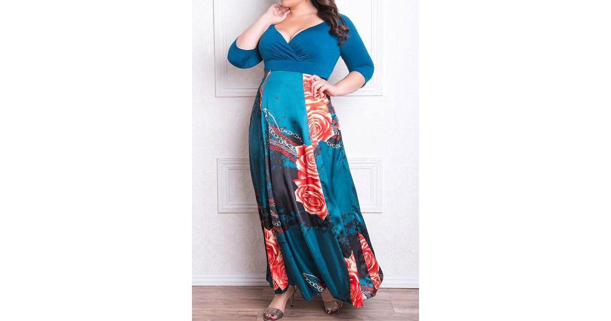 aba5d6c2ff7 Belle lily Plus Size Floral Wrap V-neck Maxi Dress in Blue
