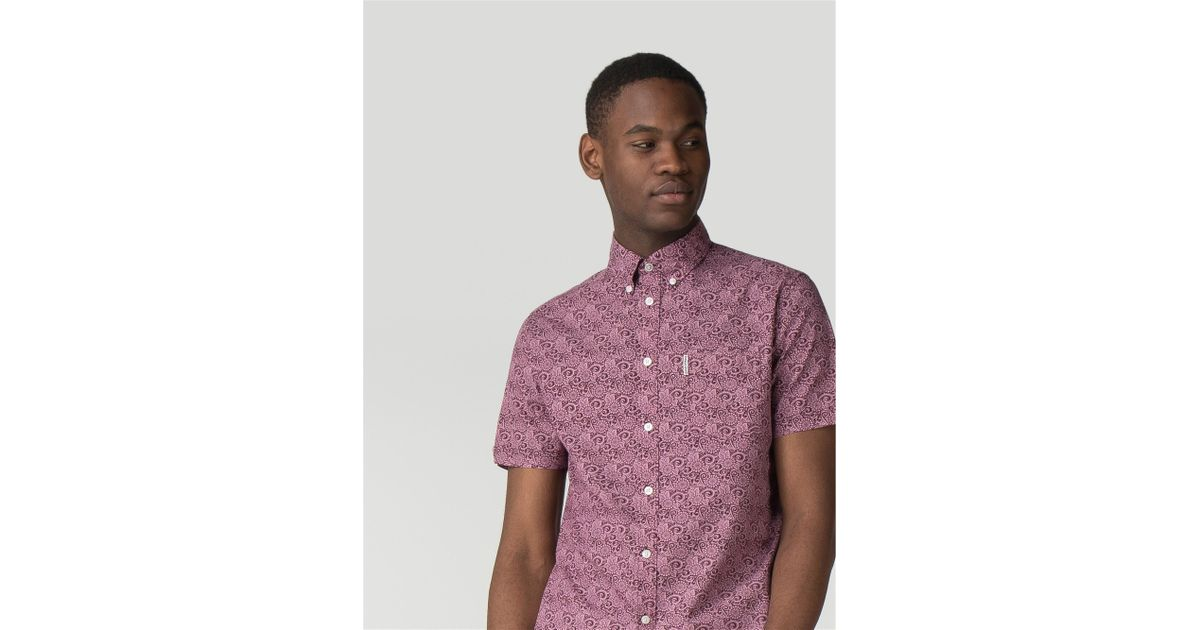 c34a181ffb Ben Sherman Pink Short Sleeve Stencil Floral Shirt for Men - Lyst