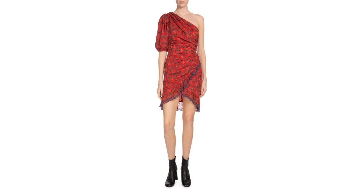 f9ec0863de Étoile Isabel Marant Esther One-shoulder Embroidered Floral-print Cotton  Mini Dress in Red - Save 60% - Lyst