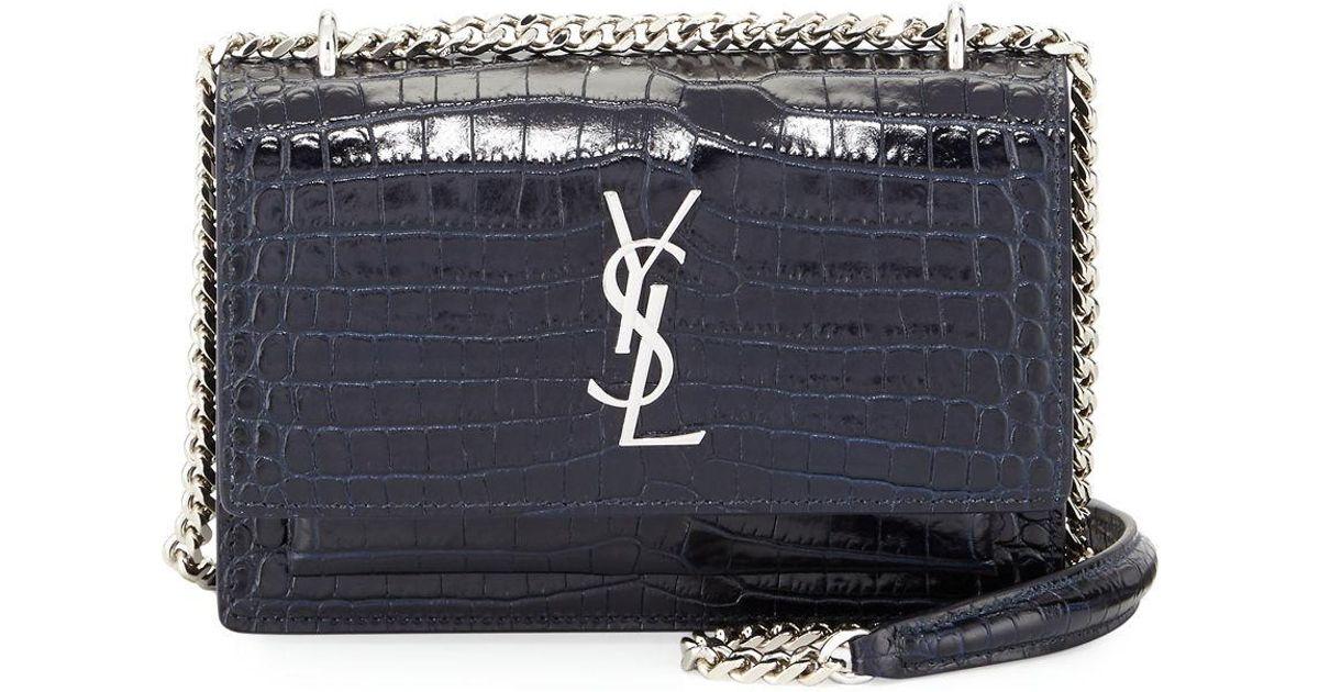 Lyst - Saint Laurent Monogram Sunset Crocodile-embossed Wallet On Chain in  Blue 13d0070b3225e