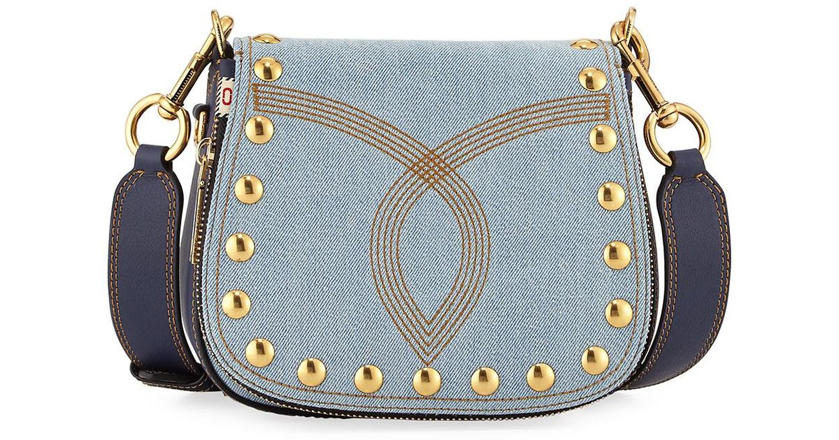 7d779baad64e Lyst - Marc Jacobs Nomad Small Studded Saddle Bag in Blue