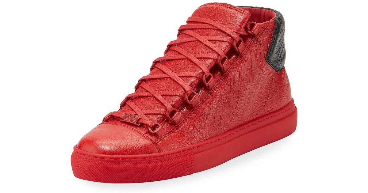 Lyst - Balenciaga Men s Arena Leather Mid-top Sneaker in Red for Men 6e41e7ea19b1