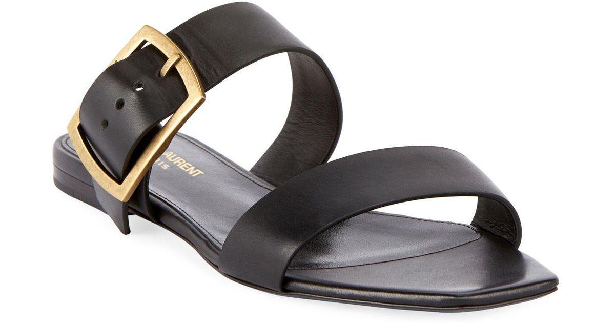db10c40b4 Lyst - Saint Laurent Jodie Flat Leather Slide Sandals in Black