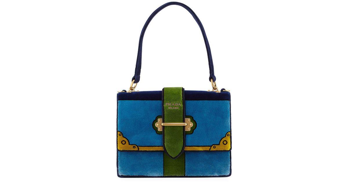 5d9f36b8b3ee Prada Trompe L'oeil Velvet Cahier Buckle Bag in Blue - Lyst
