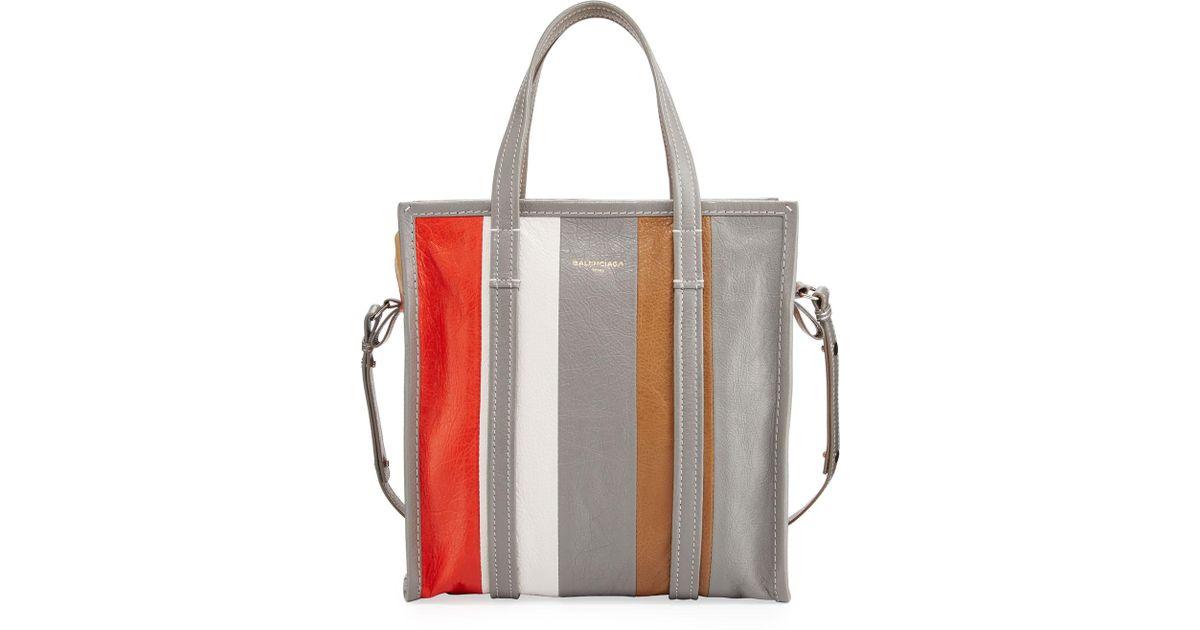 2043cc1fc Balenciaga Bazar Small Striped Leather Shopper Tote Bag in Brown - Lyst