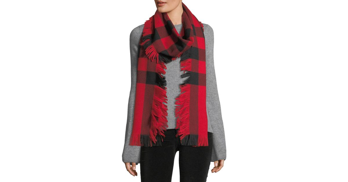 9e4ace6622eec Lyst - Burberry Women s Half Mega Fringe Wool Scarf - Camel in Red