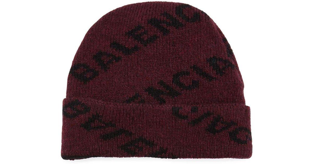 a1281df3d22f4 Balenciaga Men s Intarsia Knit Beanie Hat in Red for Men - Lyst
