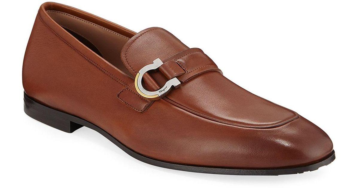 5ff00ae813c40 Ferragamo Men's Leather Gancio Bit Loafers in Brown for Men - Lyst