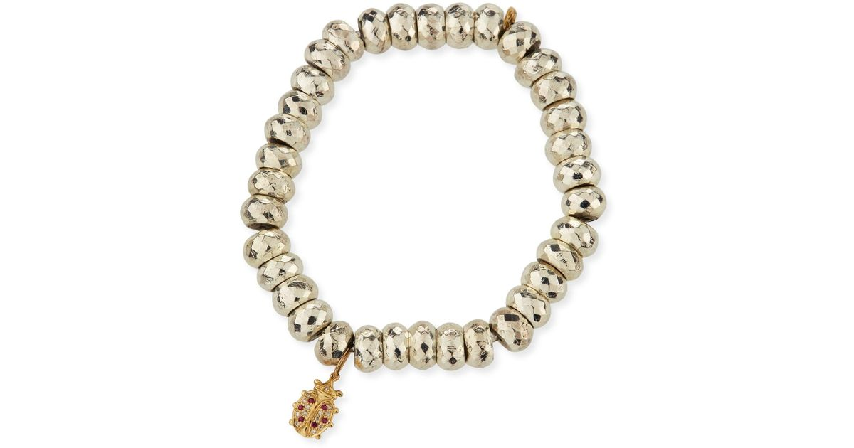 Sydney Evan Pyrite Bead Bracelet with Diamond Lotus Charm NWtYBhes
