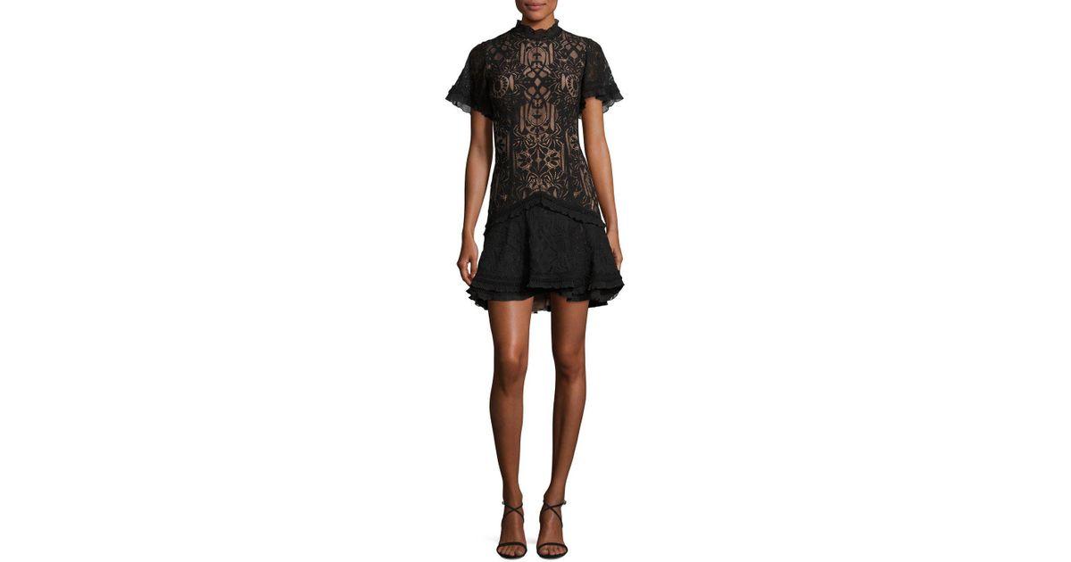 487d2a2c90a Jonathan Simkhai Tower Mesh Lace Ruffled Cocktail Mini Dress in Black - Lyst