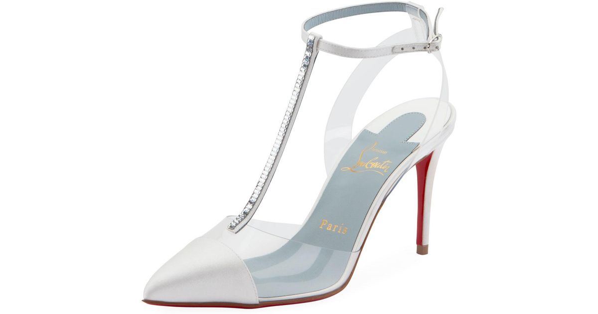 227b05c55c6f Lyst - Christian Louboutin Nosy Strass T-strap Red Sole Pumps in White