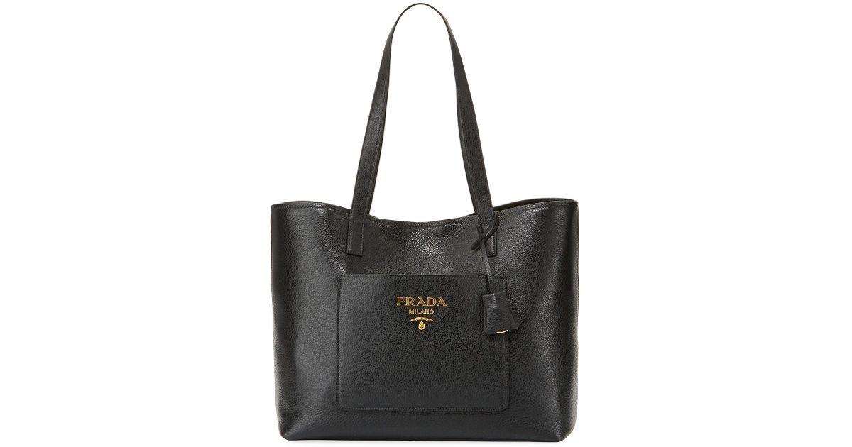 438919765e57 Lyst - Prada Large Daino Shopper Tote Bag in Black