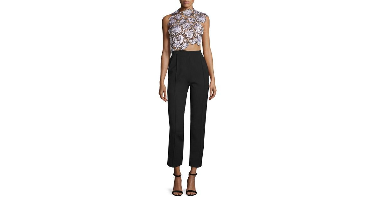 4ae7666f25fe Lyst - Self-Portrait Lilac Floral-lace Trouser-combo Jumpsuit in Black