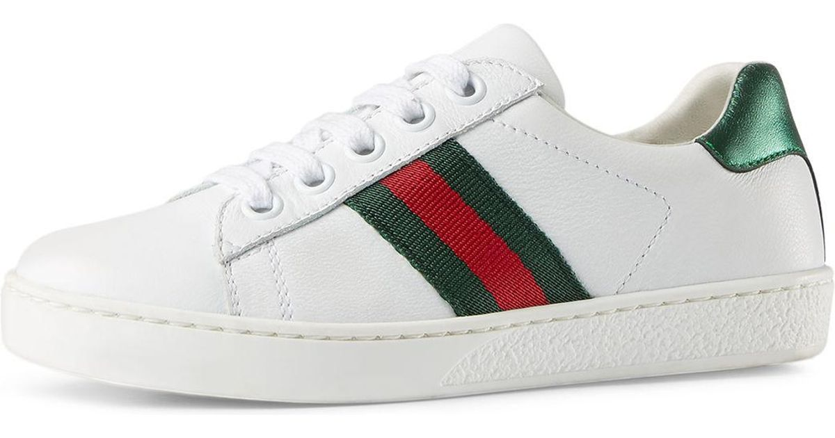 972d5289d513 Lyst - Gucci New Ace Leather Tennis Shoe in White