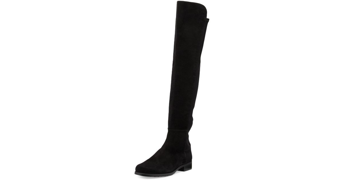 ed5d40dea39 Lyst - Stuart Weitzman 50 50 Suede Stretch Over-the-knee Boots in Black