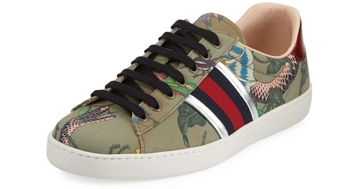 7e2f13412ba Lyst - Gucci Flora Snake Sneaker in Green