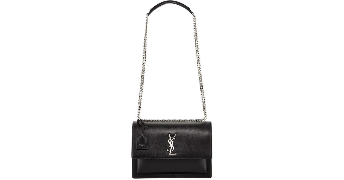 Lyst - Saint Laurent Sunset Monogram Ysl Large Flap-top Shoulder Bag in  Black f2c6b40d5d14d