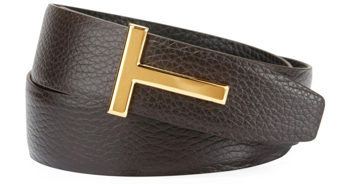 595c254b439 Lyst - Tom Ford T-buckle Reversible Leather Belt in Black for Men - Save  46.42857142857143%