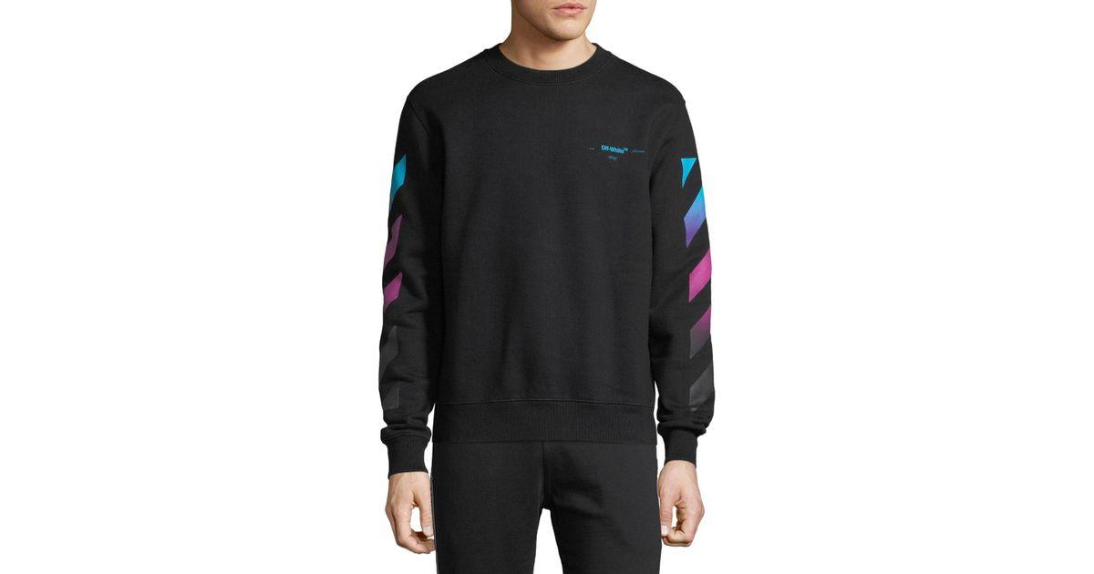 Lyst - Off-White c o Virgil Abloh Men s Diagonal-gradient Pullover Sweater  in Black for Men 07eba2df4