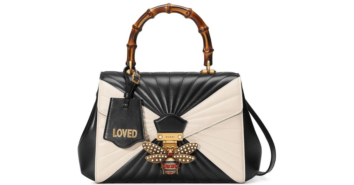 ff85ab7412d Lyst - Gucci Queen Margaret Linea Medium Bee Bamboo Top-handle Bag in Black