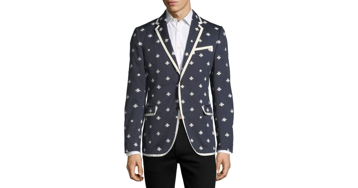 df56c2146 Gucci Tipped Cotton Blazer W/ Bees & Stars in Blue for Men - Lyst
