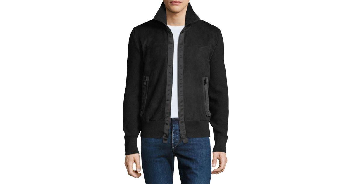 34f79d1e7120 Tom Ford Men's Suede Zip-front Blouson Jacket in Black for Men - Lyst